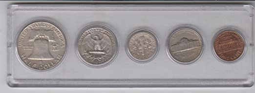 Silver Half 1959 Birth Year Coin Set Coins Nickel 5 Silver Quarter Silver Dime and Cent all Dated 1959 and Encased in a Plastic Display Case Fine