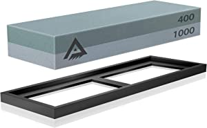 Knife Sharpening Stone Whetstone Sharpener Stone 400/1000 Grit - Chisel Sharpening Stone Set with Non-Slip Rubber Base Holder (400/1000 Grit)