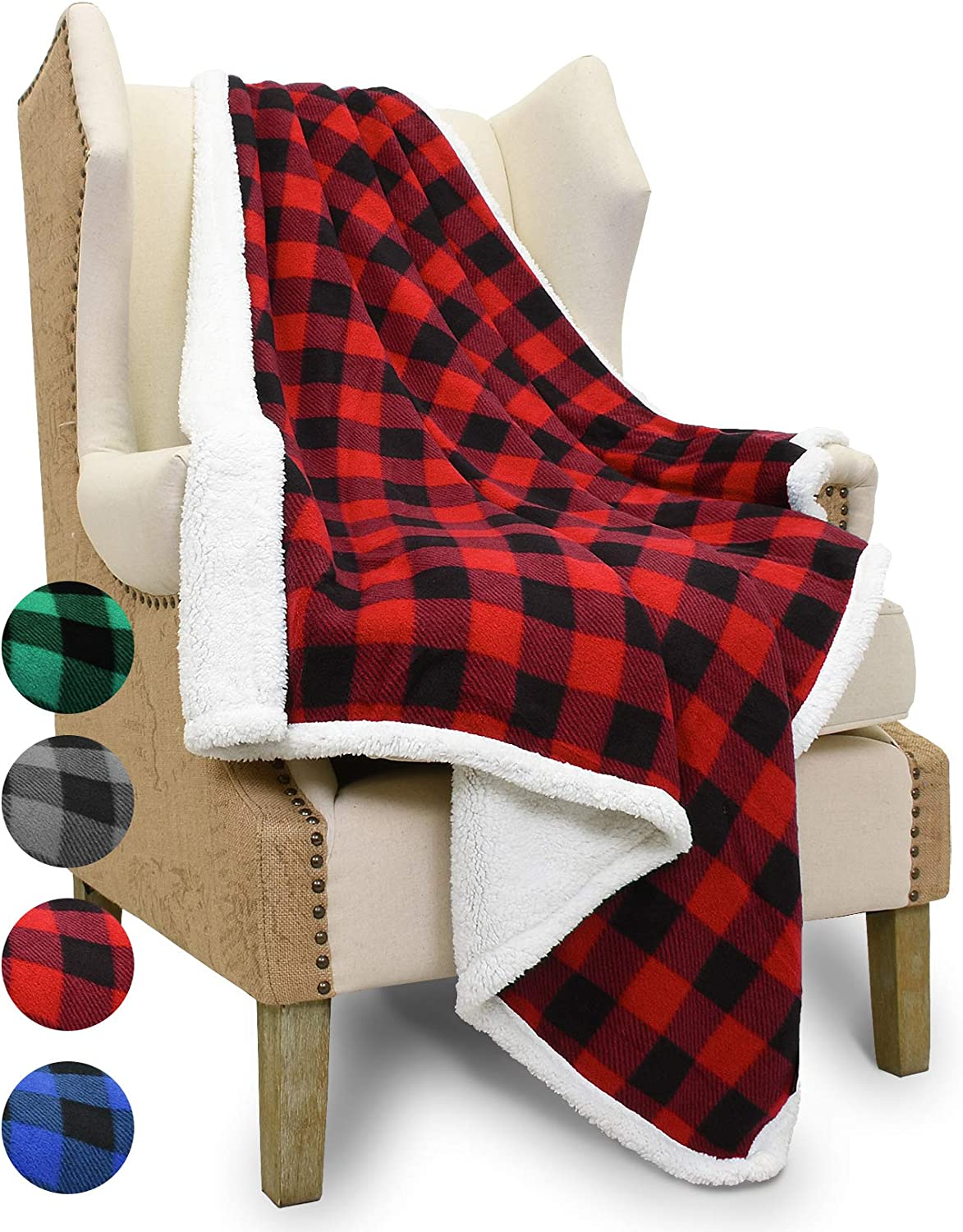 Catalonia Buffalo Plaid Sherpa Throw Blanket,Micro Fleece Plush Throws for Bed Couch TV|Reversible,Super Soft,Warm,Comfy,Fuzzy,Snuggle|60x50 Inches,Red Black Checkered
