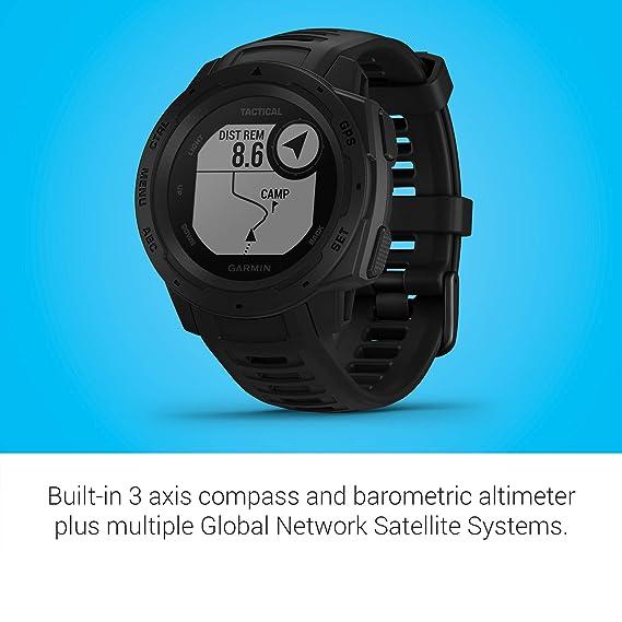 Garmin Instinct Tactical, Reloj con GPS Para Actividades Al Aire Libre (Resistencia Frente a Golpes y Agua, Carcasa de Polímero Reforzado), Negro