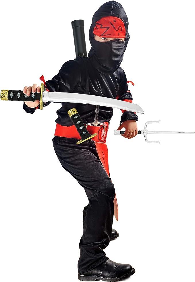 Fighting Warrior Weapon Costume Set with Katana Swords 6 Pieces Sai Daggers Skeleteen Ninja Weapons Toy Set and Shuriken Stars