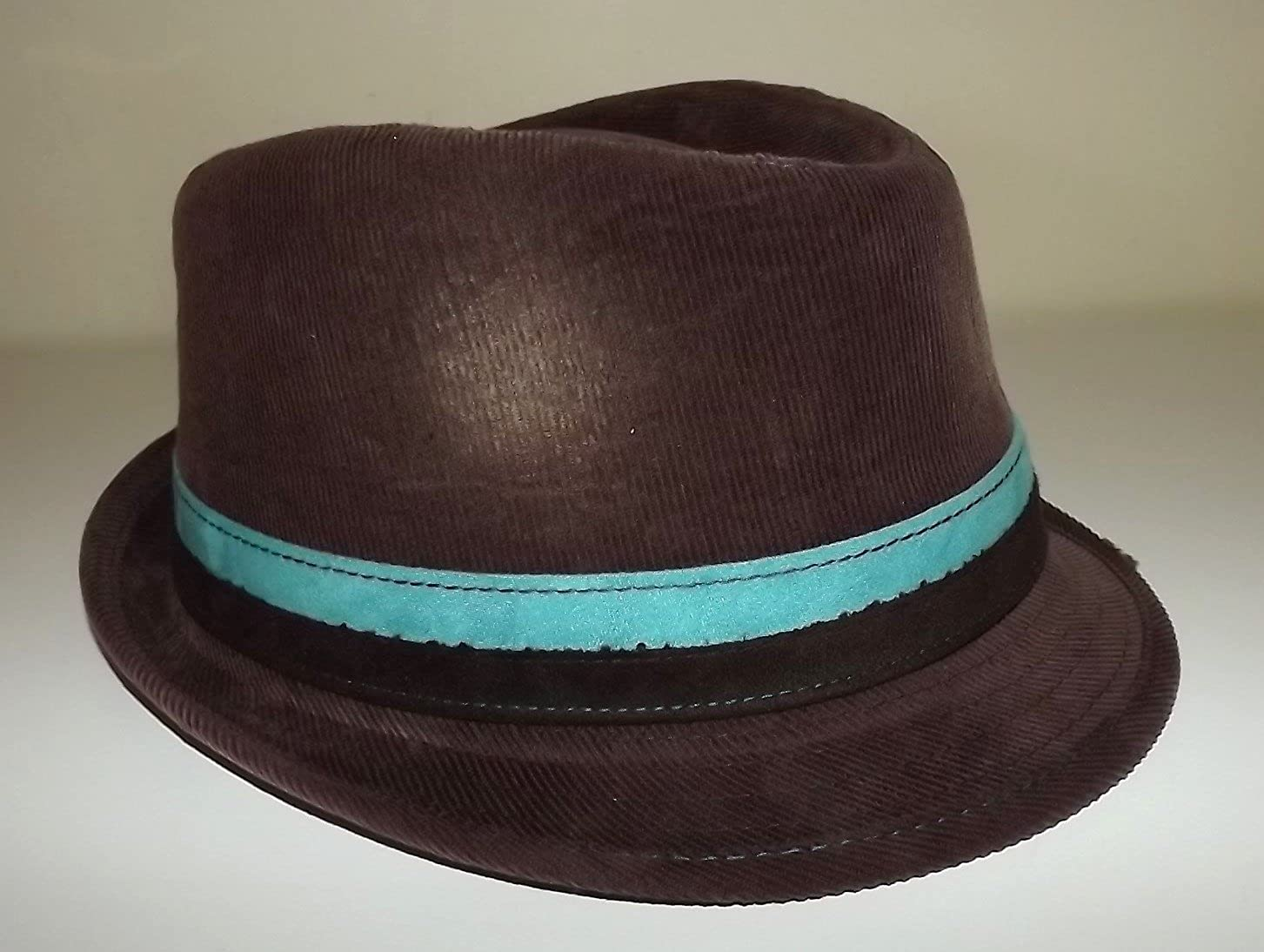 Daniel Cremieux Mens Cotton Twill Fedora Hat Brown Aqua Band Medium//Large