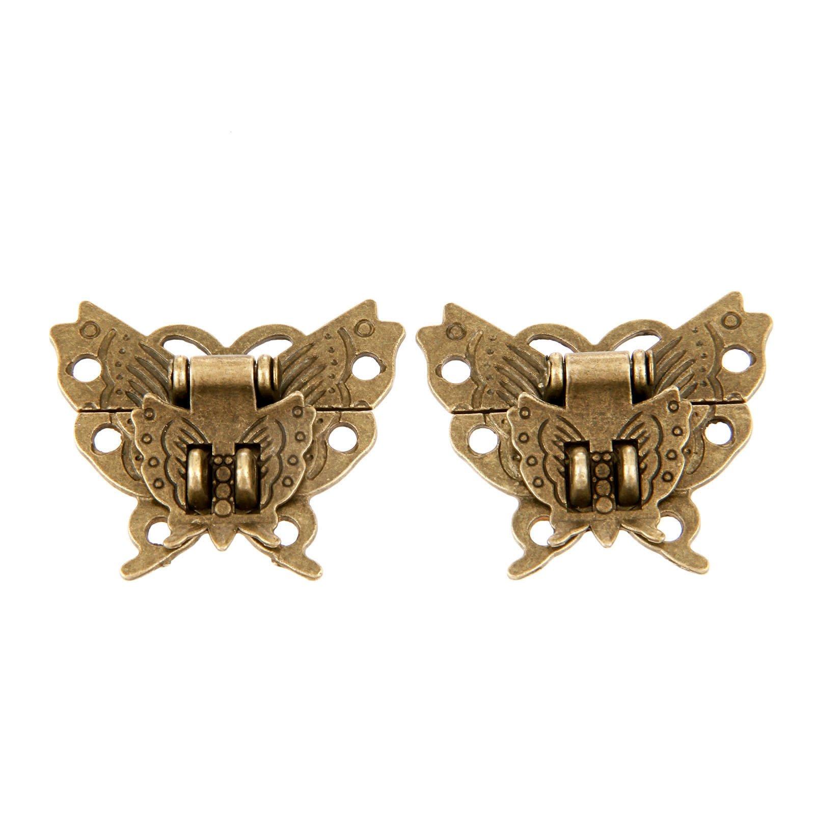 Dophee 10Pcs Retro 39x45mm Chic Butterfly Latch Catch Jewelry Wooden Box Lock Hasp Pad Chest Lock