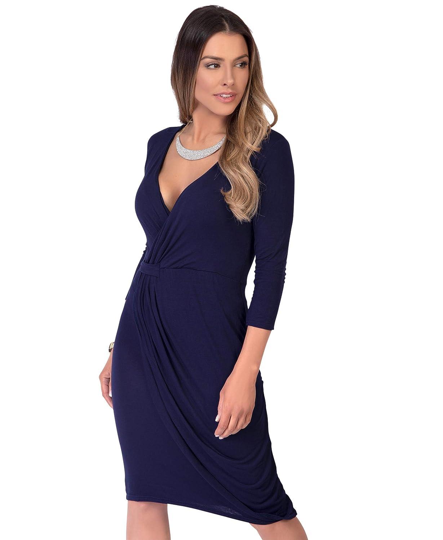 TALLA 40. KRISP Vestido Moda Mujer Fruncido Azul Marino (6174) 40