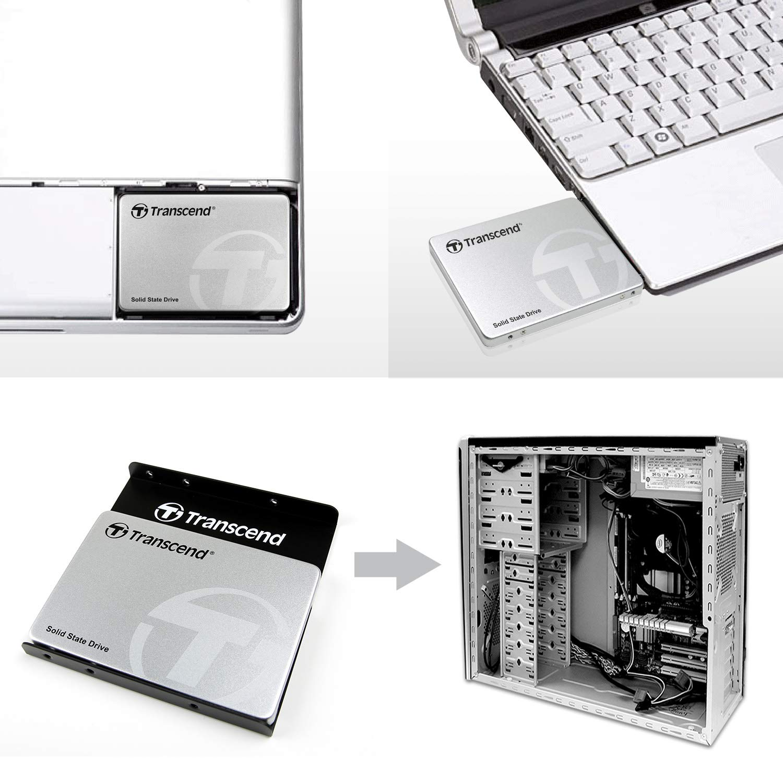 SATA III, MLC, hasta 560 MB//s, 2.5 color plateado Disco duro s/ólido de 256 GB Transcend SSD370S