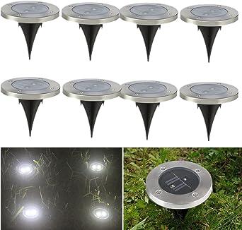 8 X Focos Solares Luces LED Jardin, Acabado Inoxidable Luces de Suelo Con Luz Blanca y 2 LEDs Impermeable para el Jardín, Césped, Camino por NORDSD: Amazon.es: Iluminación