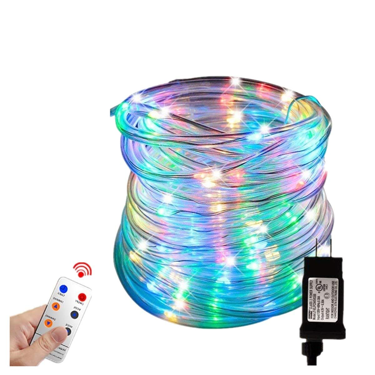 Zinuo LED String Rope Lights 33FT 136 LED Waterproof Outdoor Rope Lights, RF Remote, 8 Modes/Timer, Multi Color Patio Lights for Gardens Parties Wedding Holiday Decor (A Power Adaptor Included)