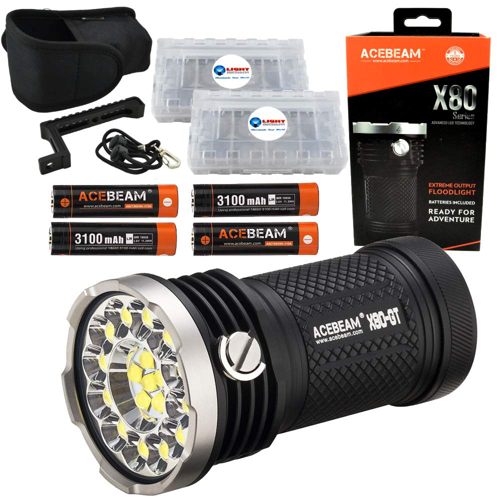 Acebeam X80-GT Searchlight Flashlight 32500 Lumens Bundle with 4 Extra Acebeam 3100mAh 18650 Batteries and 2 LightJunction Battery Cases