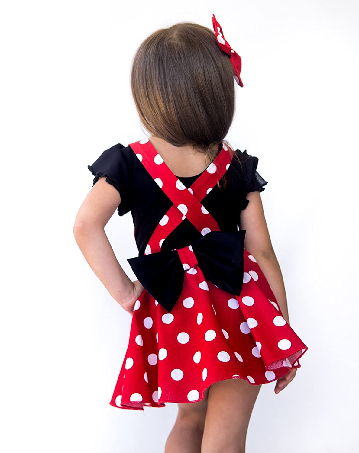bd19a0a3146 Amazon.com  Myx Couture Baby Girl Minnie Mouse Birthday Outfit Polka Dots  Skirt with a Matching Hairbow  Clothing