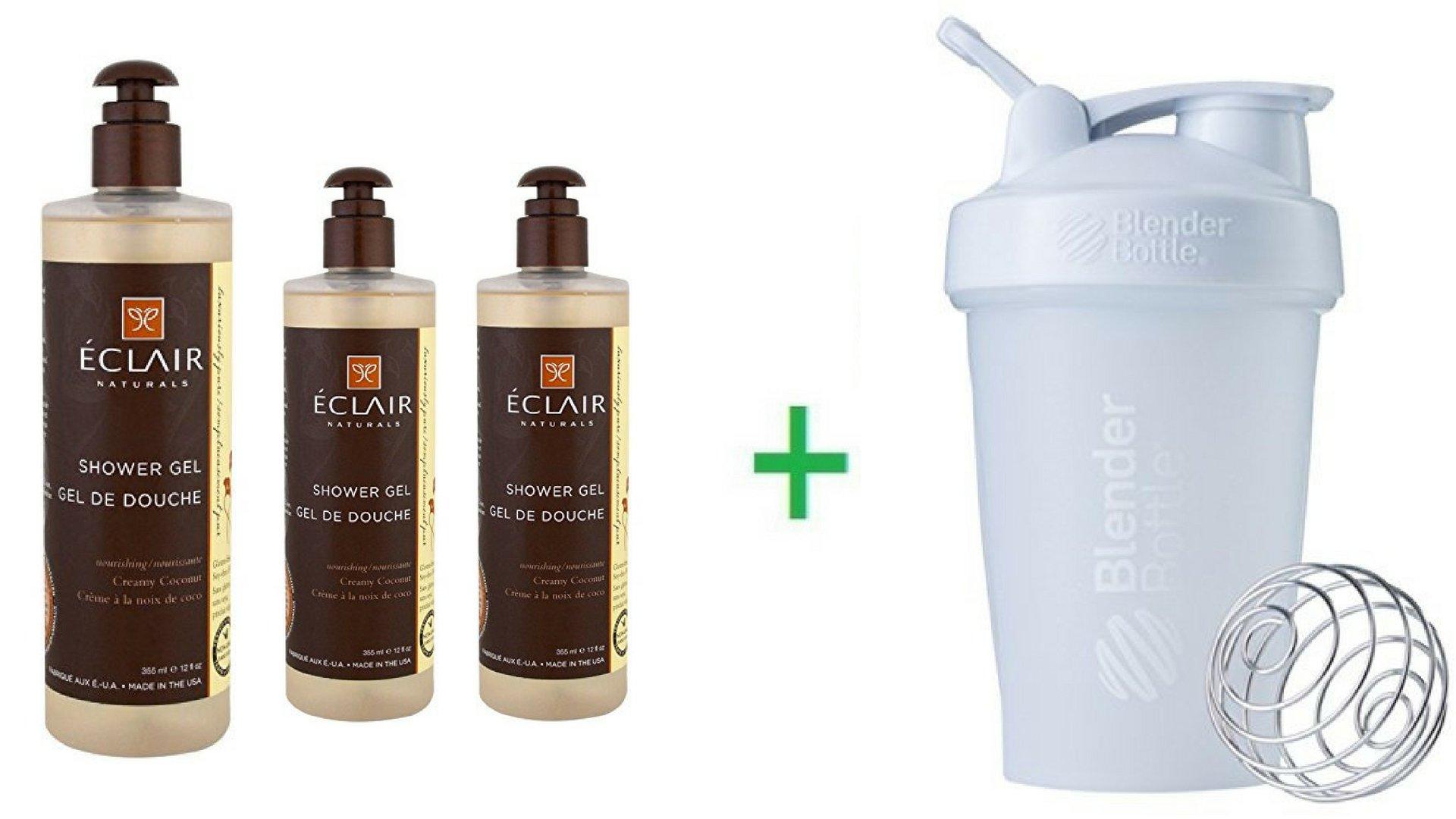 Eclair Naturals, Shower Gel, Creamy Coconut, 12 fl oz (355 ml) (3 Packs) + Sundesa, BlenderBottle, Classic With Loop, White, 20 oz