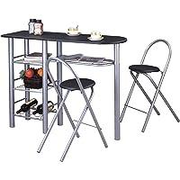 Ensemble STYLE avec table haute de bar mange-debout comptoir avec 3 étagères et 1 porte-bouteilles et 2 chaises/tabourets avec dossier, table et assise en MDF noir structure en métal couleur alu