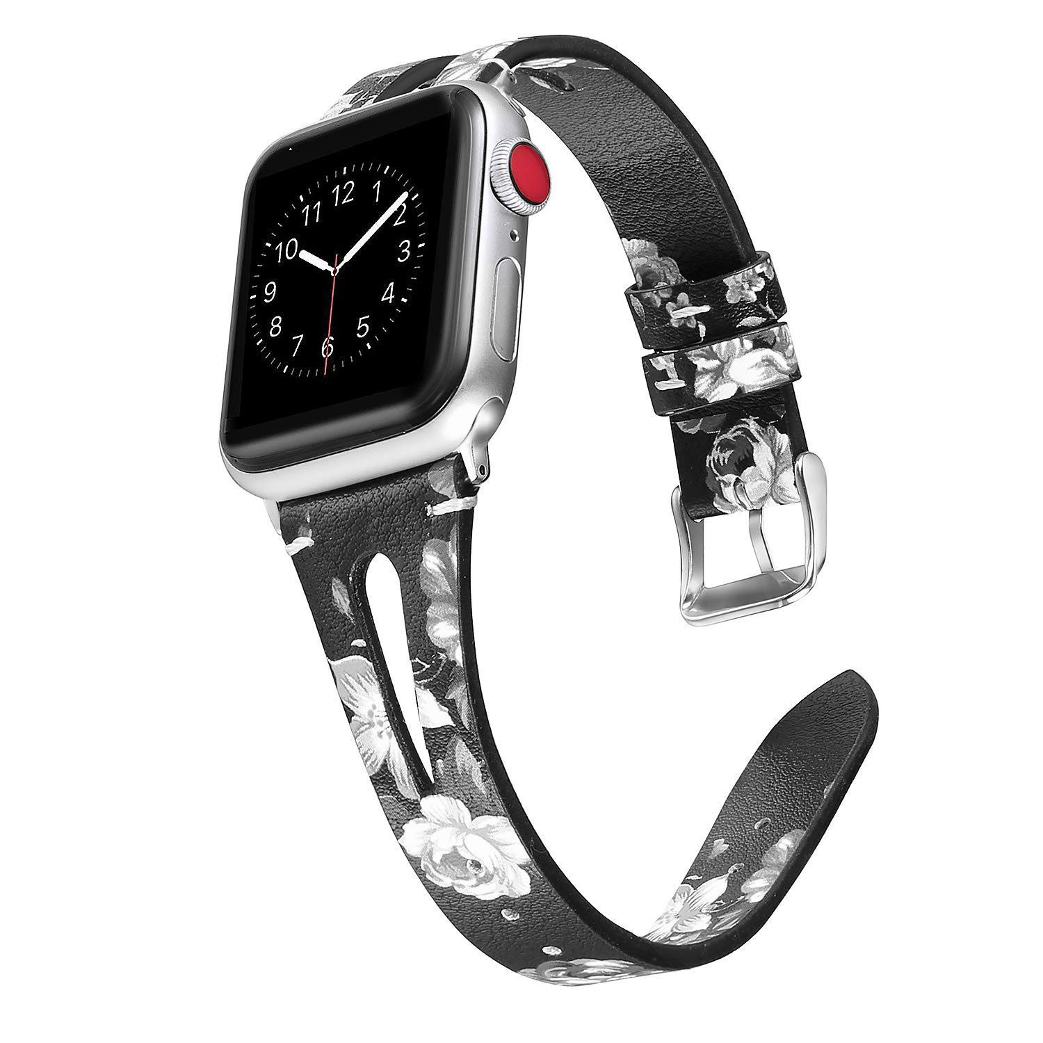 4series 22mm Watch Band 42 Watch Band for Apple 44m for Apple Watch Band for for Apple Watch Band Wrist Watch Strap Band for Apple Watch 42mm 4series for Apple Watch Bands (White Floral, 38mm40mm) by TIMESFRIEND