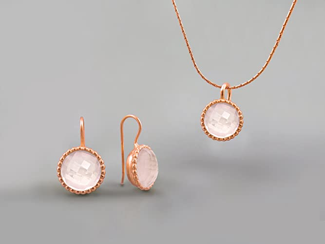 14K Rose Gold Plated Handmade Jewelry Set For Women Rose Quartz