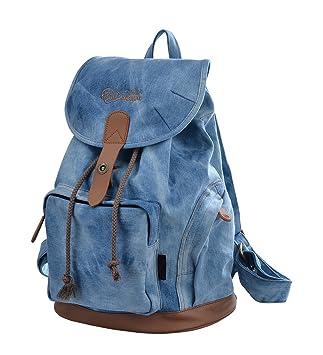 Mochila Mujer Casual Bolsos de Lona Mochila Escolar Para Niñas GZ117 (azul claro): Amazon.es: Equipaje