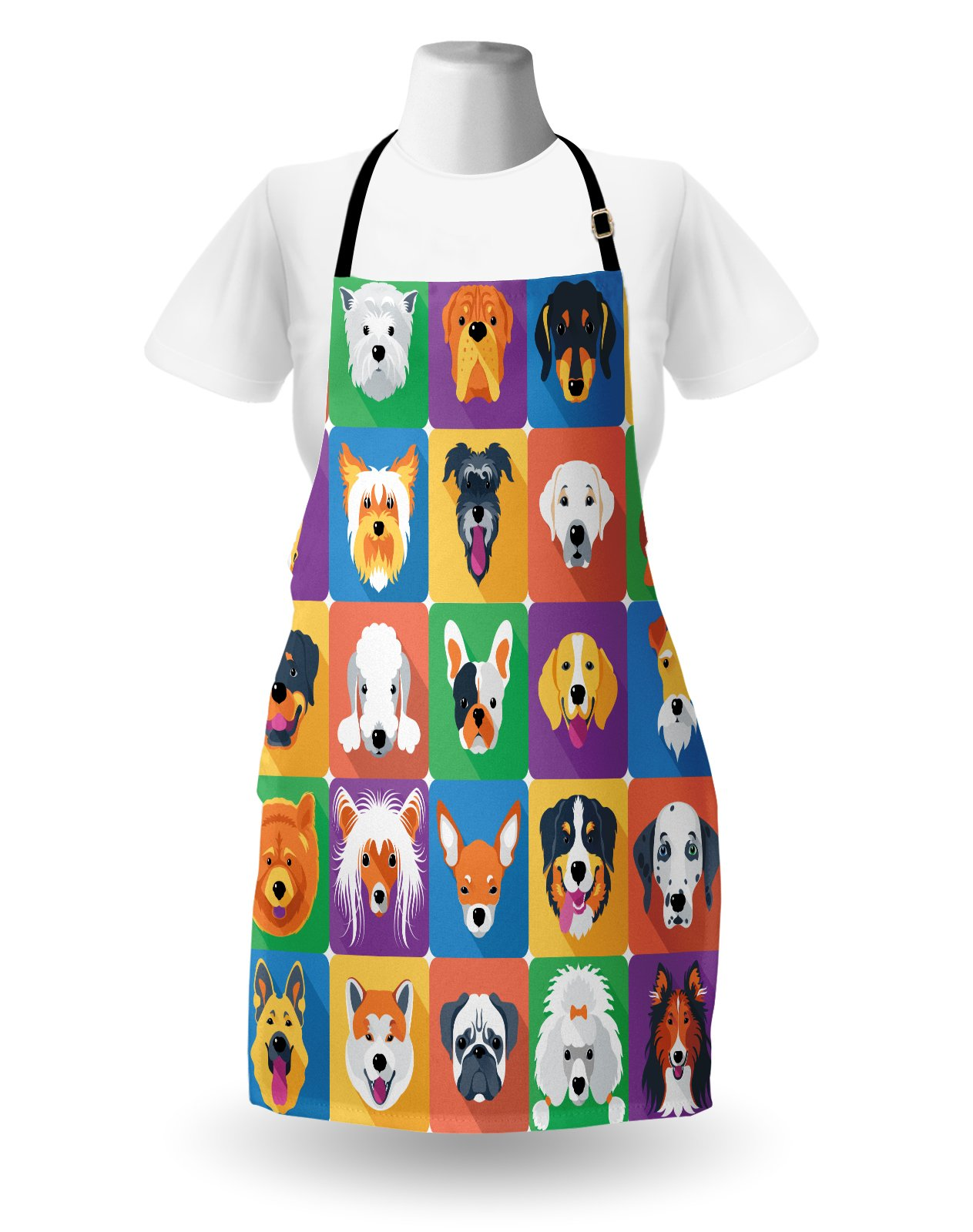 Ambesonne Dog Apron, Dog Breeds Profiles Pets Shepherd Terrier Labrador Domestic Animals Illustration, Unisex Kitchen Bib Apron with Adjustable Neck for Cooking Baking Gardening, Purple Green by Ambesonne (Image #2)