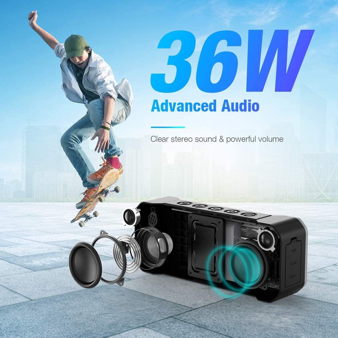 Beach MusicFly Portable Wireless Bluetooth Speakers IPX7 Waterproof Party Shower Force 36W with 4 Driver Enhanced Bass Bluetooth 4.2 For Travel Poweradd Bluetooth Speaker