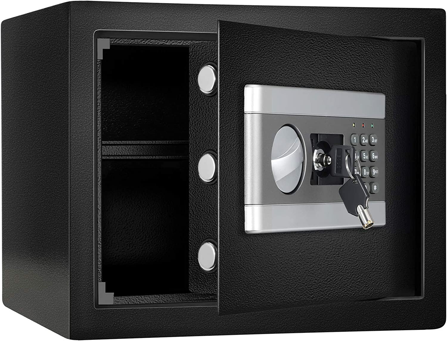 1.0 Cub Fireproof and Waterproof Safe Box, Dual-Security Steel Safe Cabinet with Keypad LED Indicator, Digital Combination Lock Safe, for Money Gun Jewelry Document