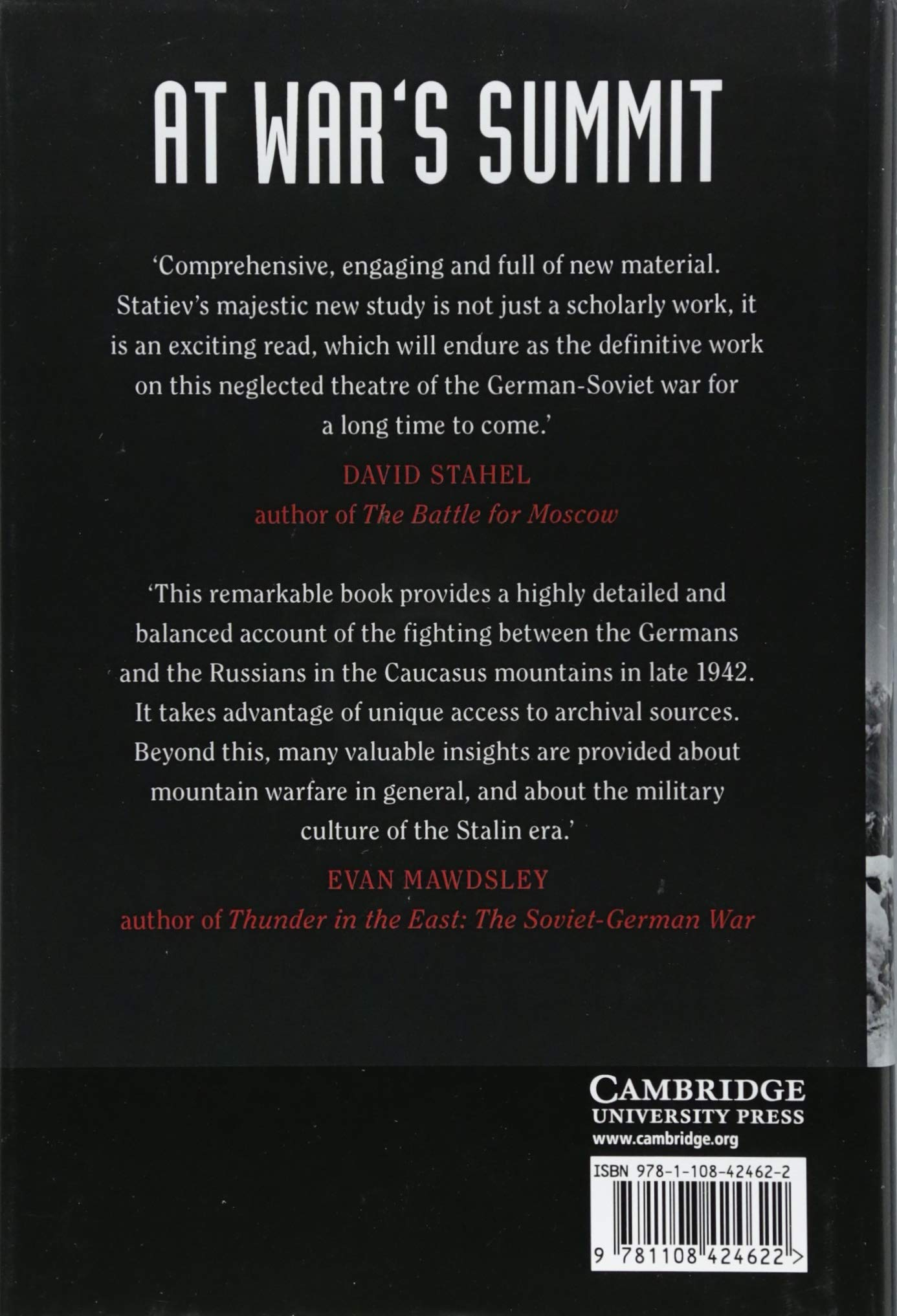 At War's Summit: The Red Army and the Struggle for the Caucasus Mountains  in World War II (Cambridge Military Histories): Alexander Statiev:  9781108424622: ...