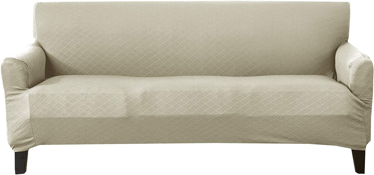 Textured Slipcover, Stretch Sofa Slipcover. Decorative Cord/Rope Form Fit, Slip Resistant, Strapless Slipcover. Saria Collection (Sofa, Beige)