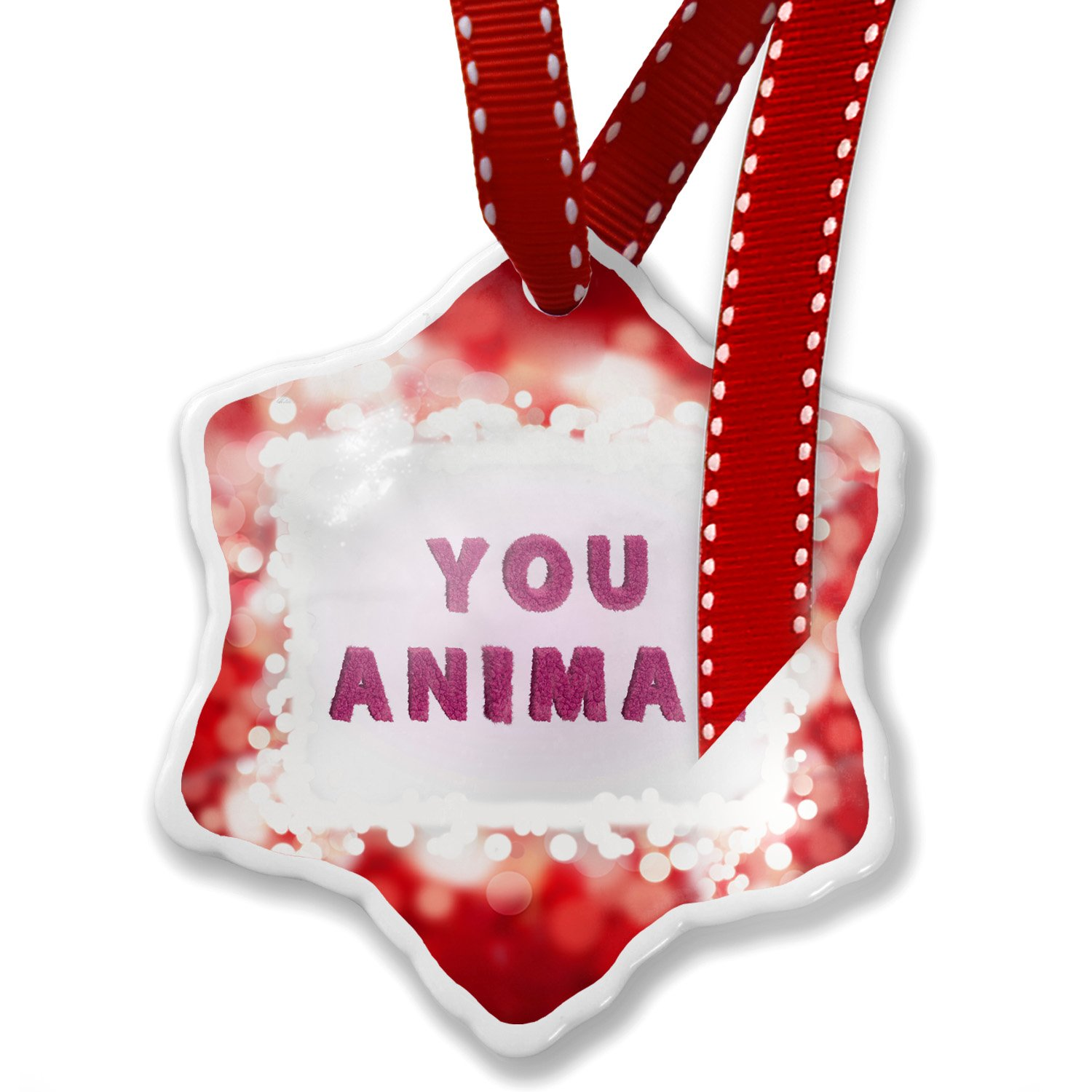 Christmas Ornament You Animal Pink Fuzz Fur Letters, red - Neonblond