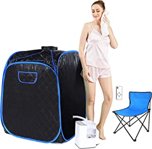 Angotrade Portable Steam Sauna, Personal Therapeutic Sauna Tent Home Spa for Weight Loss Detox Relaxation Slimming,One Person Sauna with Remote Control,Foldable Chair,Timer (Black Blue)