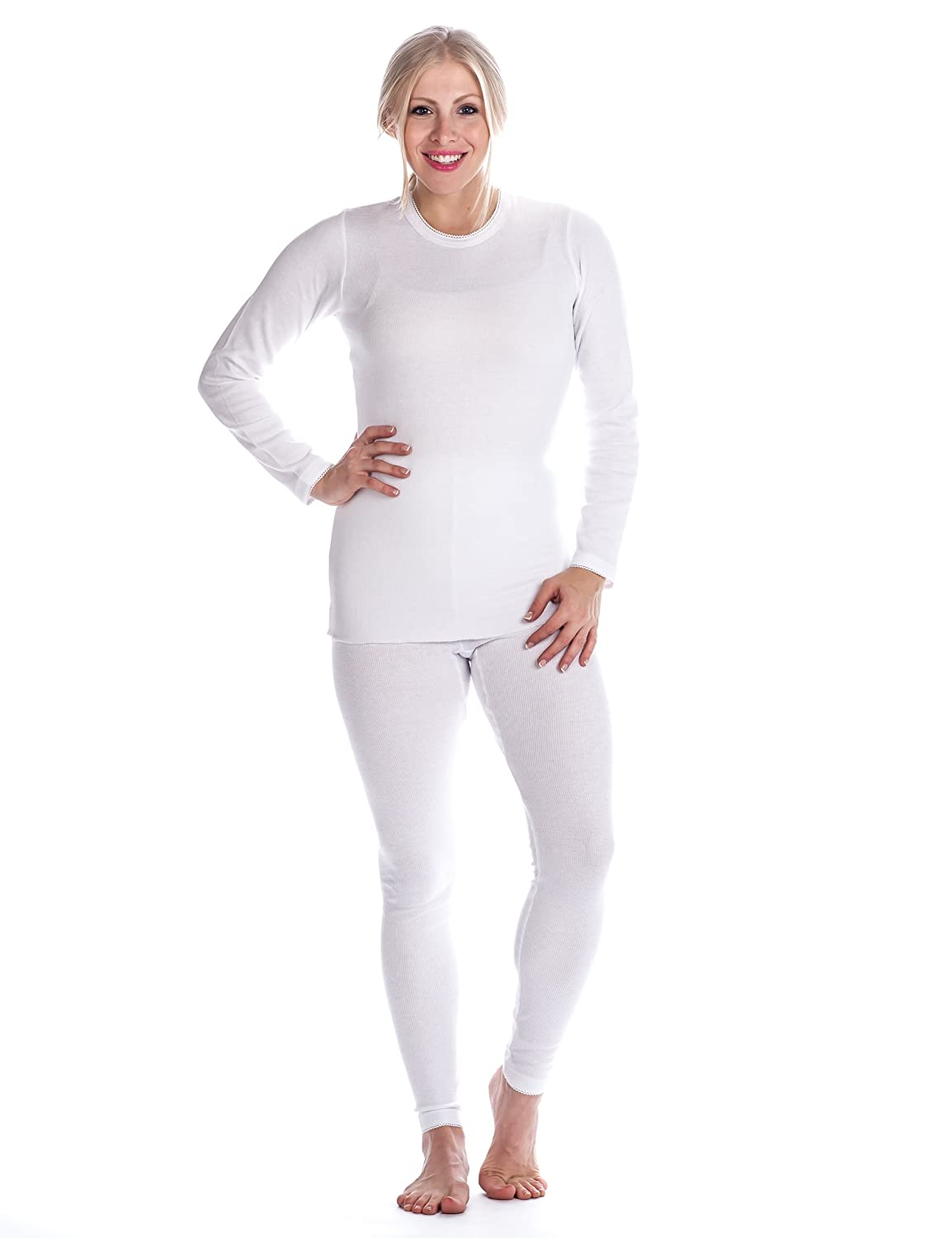 Noble Mount Womens Extreme Cold Waffle Knit Thermal Crew Top