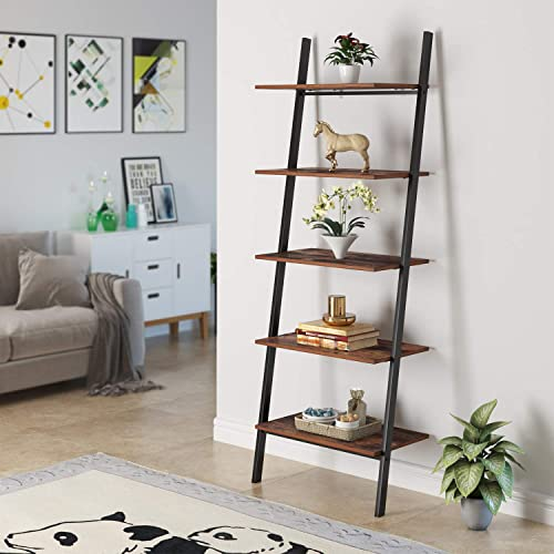 Homfa Industrial Ladder Shelf, 5-Tier Plant Flower Stand Leaning Wall Bookcase, Multipurpose Storage Organizer Display Rack, Wood Look Accent Metal Frame Home Office
