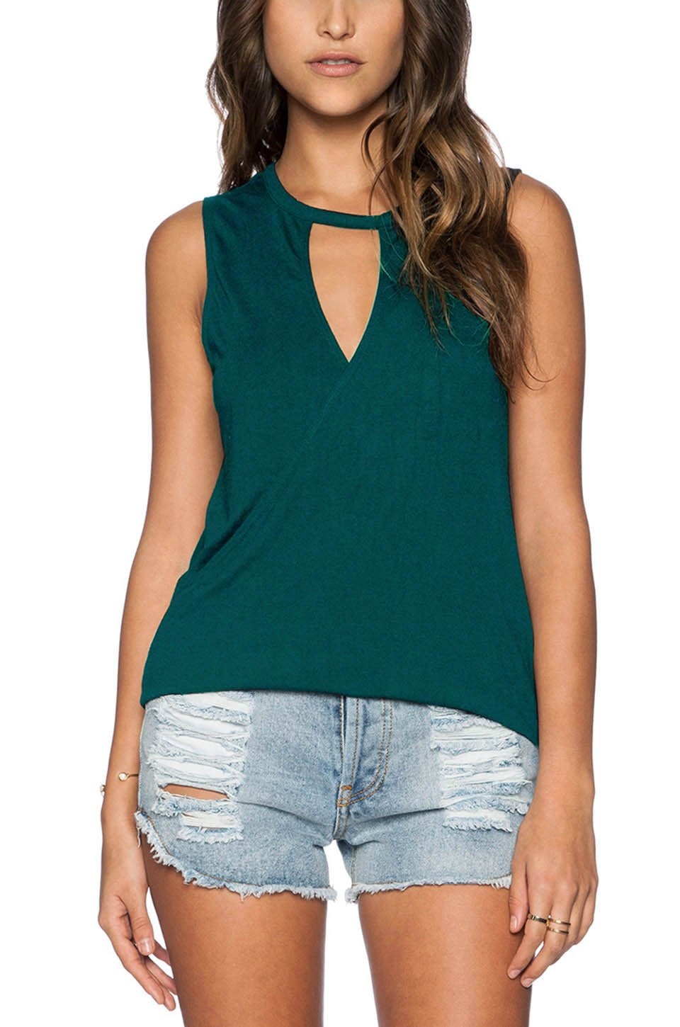 Fihapyli Women's V-Neck Front wrap Sleeveless Top T-Shirts Sexy Yoga Tops Workout Clothes Top for Sport Backless Summer Tee Knit Stretchy Tank Loose Tops (DarkGreen, M)
