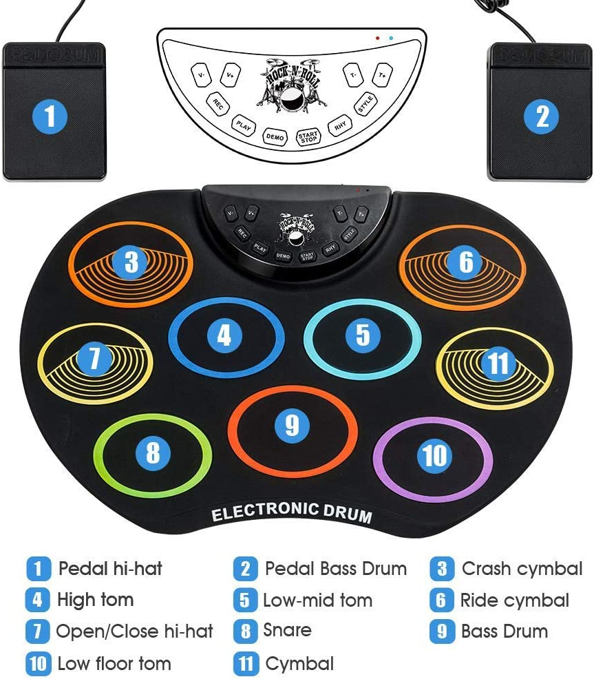 Elikliv Compact Size Roll-Up Drum Set Electronic Drum Kit 9 Silicon Drum Pads USB//Battery Powered with Drumsticks Foot Pedals for Kids Children