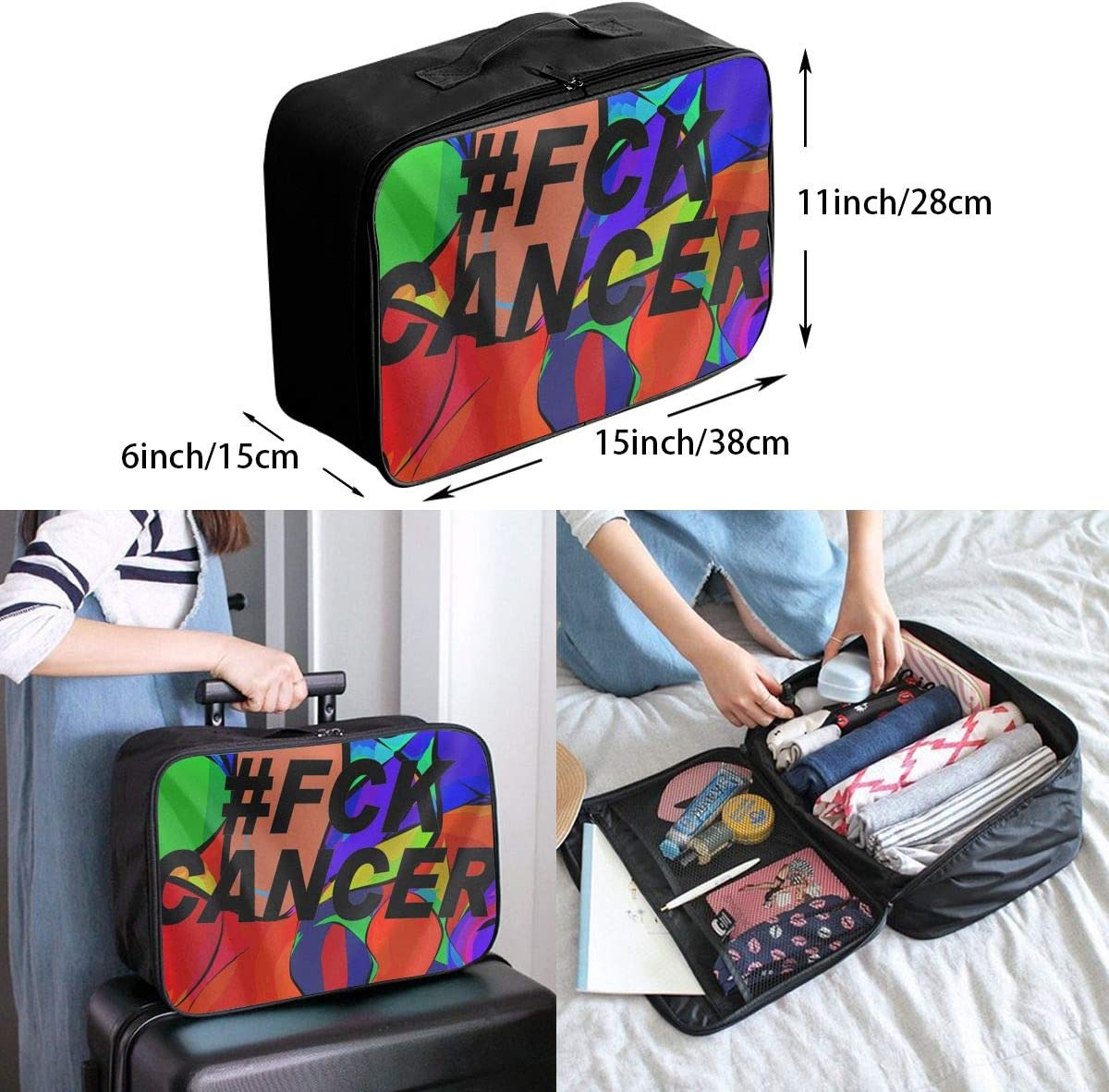 Fck Cancer Interesting Mens And Womens Travel Folding Bags Gym Sports Waterproof Light Travel Bags