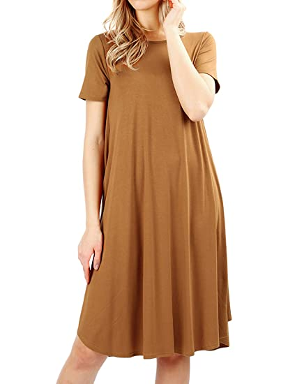 8cfd7a032b87 Image Unavailable. Image not available for. Color  Womens   Plus Round Neck  Short Sleeve Knee Length A-Line Swing Trapeze Dress