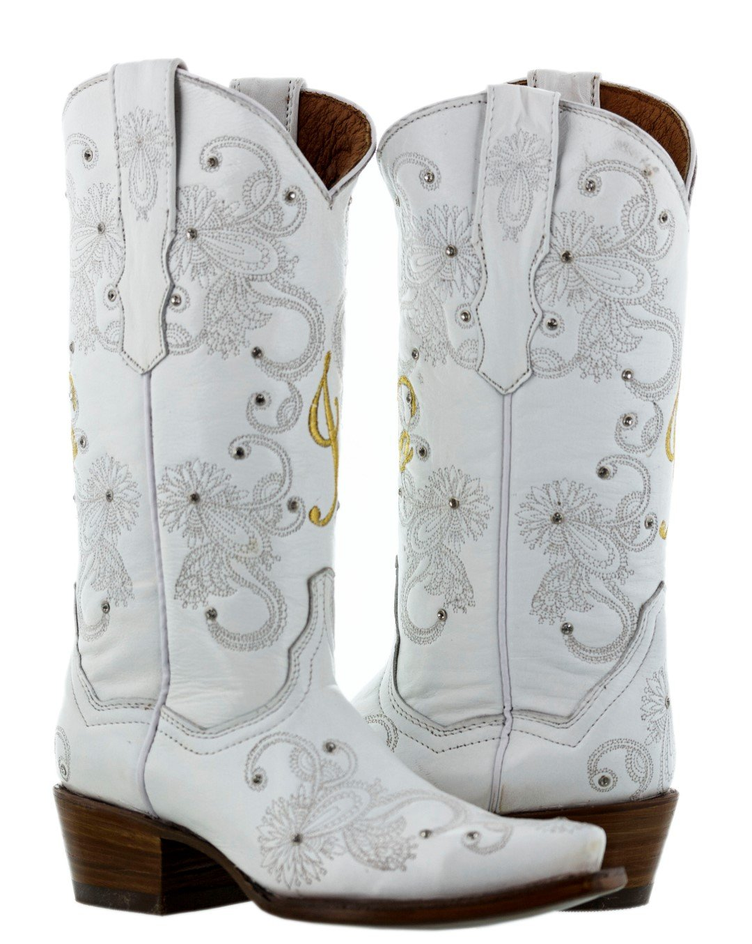 Cowboy Professional - Womens I Do White Gold Western Wedding Cowboy Boots Snip 8.5 BM