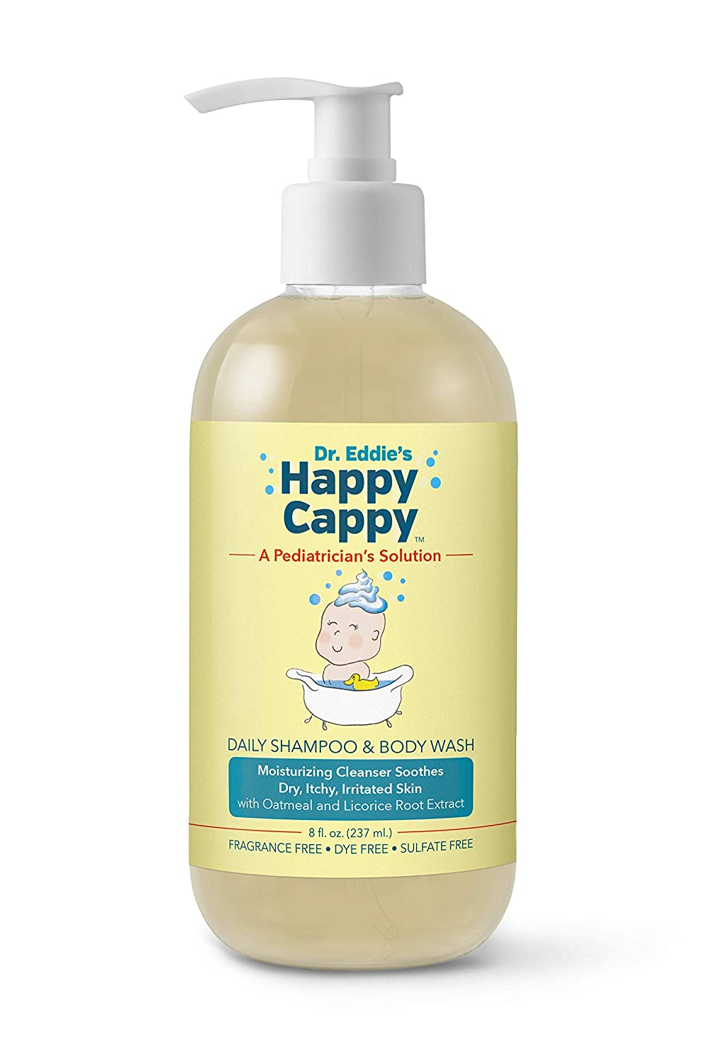 Dr. Eddie's Happy Cappy Daily Shampoo & Body Wash for Children, Clinically Tested, Fragrance Free, Moisturizing Cleanser Soothes Sensitive Scalps and Skin, 8 oz
