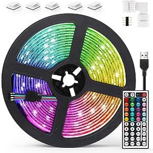 AGPTEK 5M LED Strip Lights RGB 5050 Colorful Lights with Remote Control 20 Colors 8 Brightness Modes Decorative LED Tape Lighting for Living Room Bedroom Kitchen Bar Cabinet TV