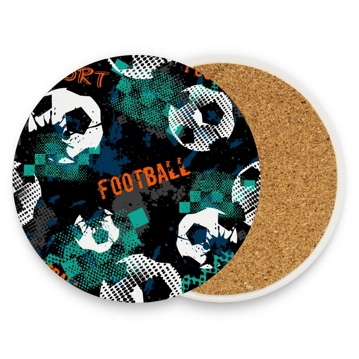 Lot de 1 dessous de verre rond absorbant en céramique Motif football Noir/vert, Céramique, multicolore, Set of 4