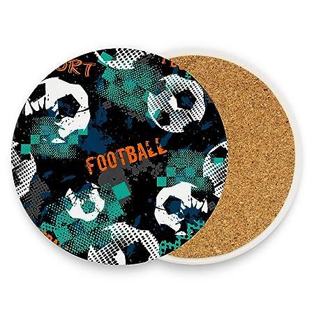 Posavasos de cerámica con diseño de balón de fútbol, redondo ...