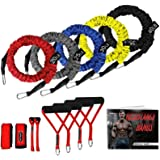 SUPALAK Resistance Bands, 15 Pieces Exercise Elastic Bands Set, 20lbs to 40lbs Resistance Tubes with Heavy Duty Protective Ny