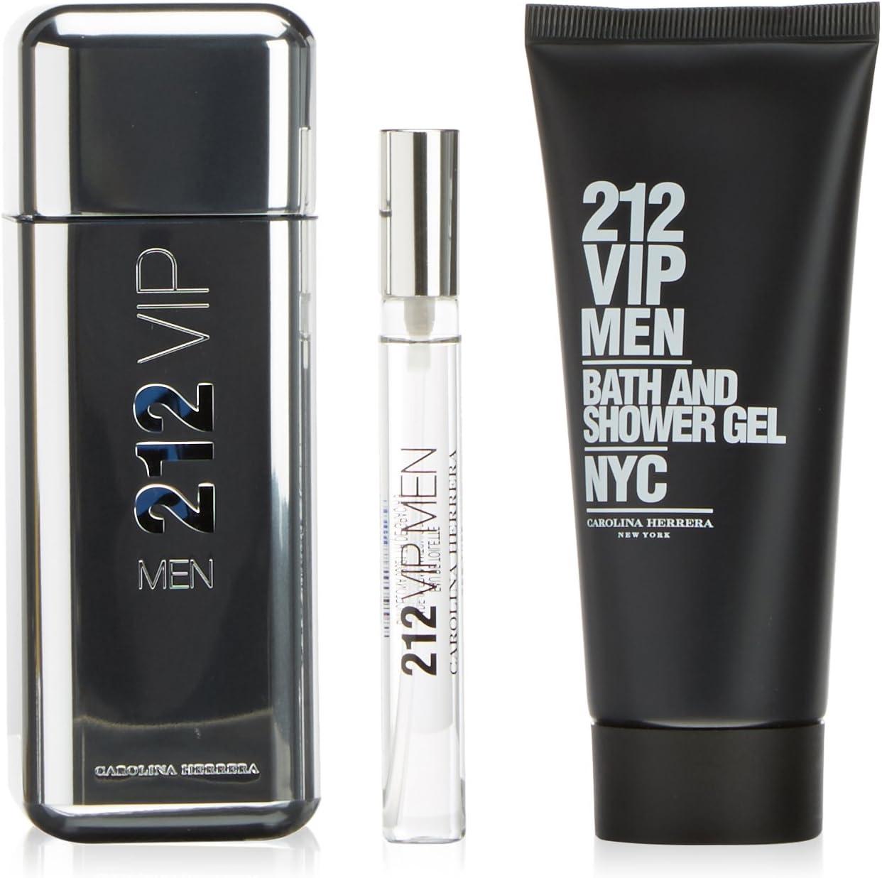 Carolina Herrera 212 Vip Men Eau De Toilette 100Ml Vapo. + Gel 100Ml + Miniatura: Amazon.es: Belleza