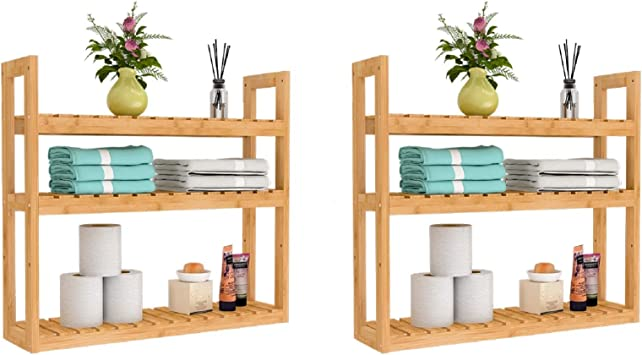 3 Tier Wooden Bamboo Bathroom Kitchen Wall Mounted Shelf Storage Rack Unit NEW