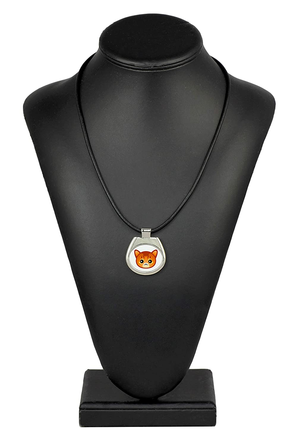 a with a Cute ArtDog cat Somali Necklace with a cat