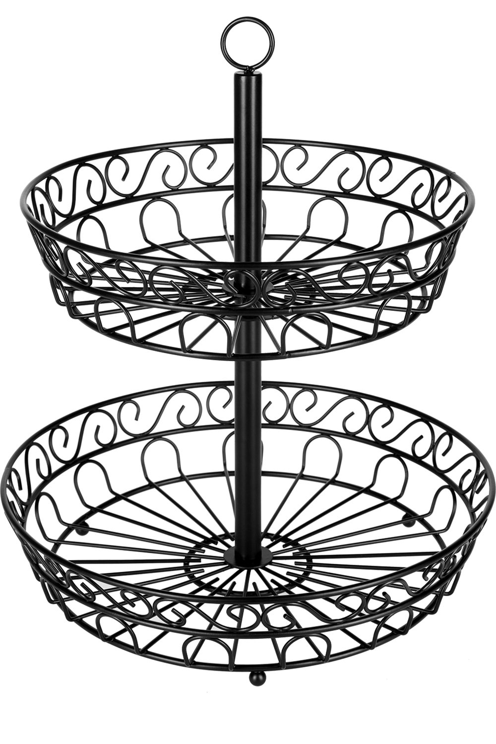 Chefarone fruit bowl - 30 cm 2-tier fruit basket for more space on the worktop - decorative eye-catcher on your kitchen counter - metal fruit bowls black
