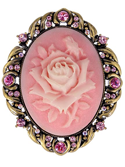 Vintage Antique Reproduct Rose Pink Crystal Flower Cameo Pin Brooch d2skG5BsO