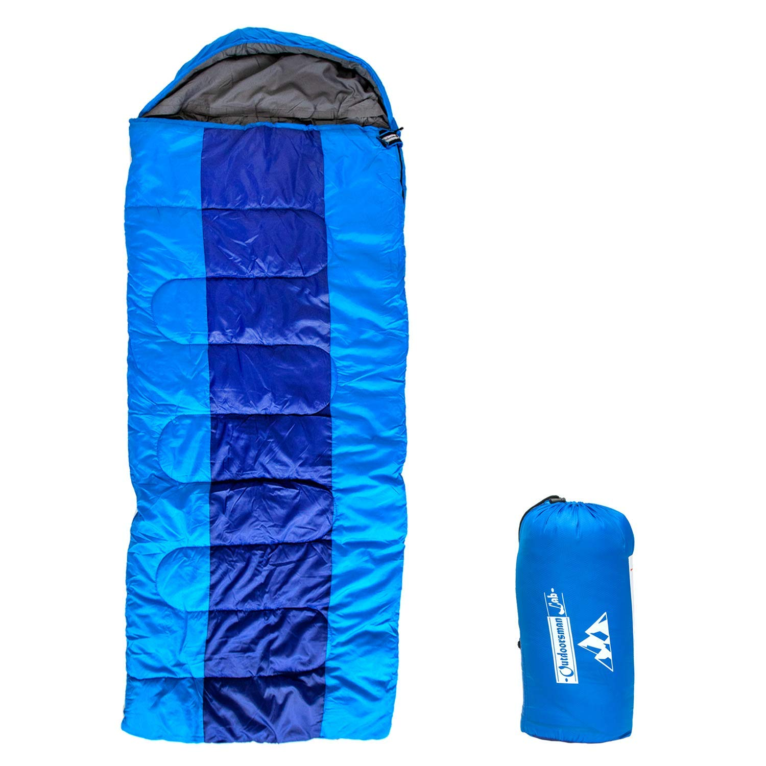 Outdoorsman Lab Sleeping Bag Lightweight Backpacking Camping Sleeping Bag for Adults Kids 3 Season, Durable Ripstop Nylon, Tear Water-Resistant Shell Includes Compression Sack