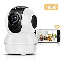 1080P Cámara IP Wifi HD Inalámbrico P2P Hommie, Visión Nocturna, Audio de dos vías, Bebé Monitor, Cámara de Vigilancia Seguridad Casera de 2.4 GHz para Monitor Niño, Anciano, Mascota, Compatible con iOS/Android