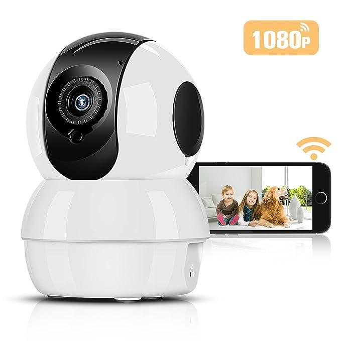 Cámara IP Wifi HD 1080P Inalámbrico P2P Hommie, Visión Nocturna, Audio de dos vías, Bebé Monitor, Cámara de Vigilancia Seguridad Casera de 2.4 GHz para ...