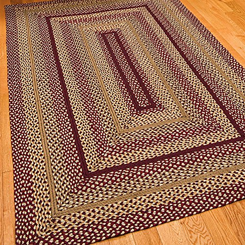 IHF Home Decor Checkerberry Jute Farmhouse Kitchen Indoor Outdoor Braided Rug 4 x 6 Rectangle Area Accent Floor Carpet