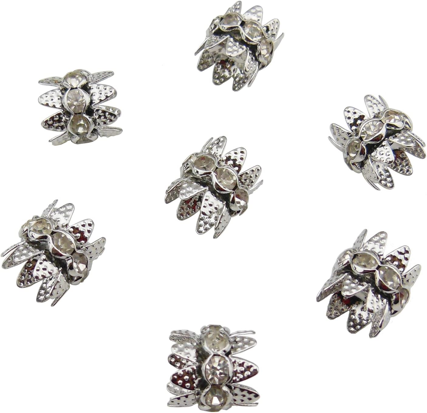 HT-1000-100RG Coiris 100PCS 10mm Double Beads Caps with Rhinestone Filigree Flower Cup for Jewelry Making DIY