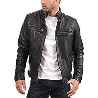 Urban Leather Factory Men's Enzo Black Genuine Lambskin Vintage Leather Jacket