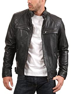 ea28e1886 The Leather Factory Men's Sword Black Genuine Lambskin Leather Biker ...