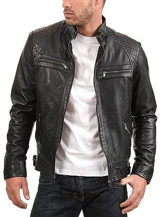 7c884846f93c Urban Leather Factory Men s Enzo Black Genuine Lambskin Vintage Leather  Jacket XS Black